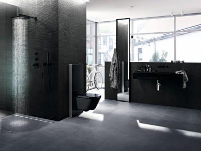 Geberit Monolith WC und cleanline Duschrinne
